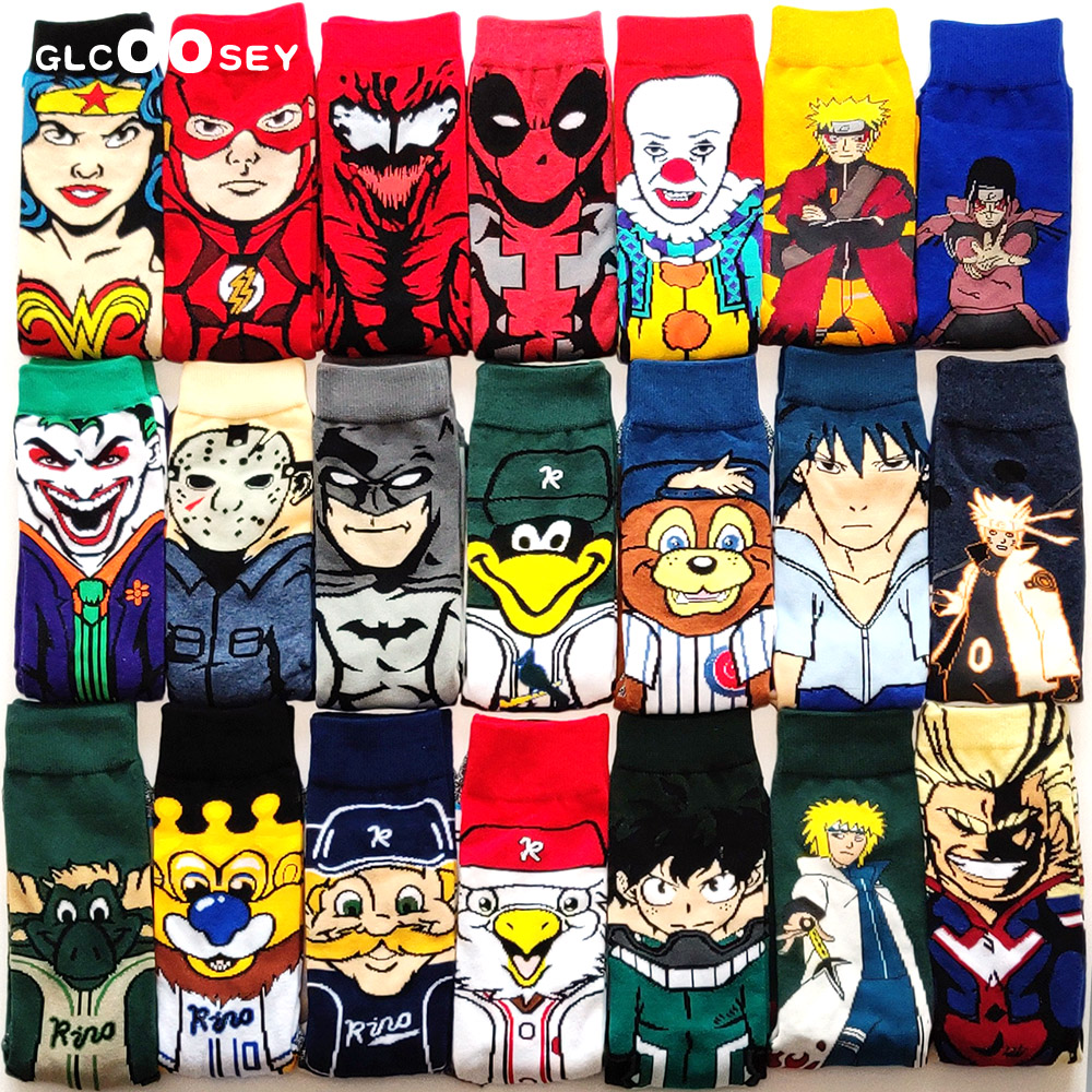 44 Funny Cartoon Anime Socks Venom Deadpool Flash Naruto Clown Personalized Novelty Socks Men Women Cotton Hip Hop Big Size Sock