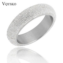 2019 New Styles Wide Heavy Stainless Steel Bangles For Woman Shining Womens Bangles With Good White CZ Austrian Crystal