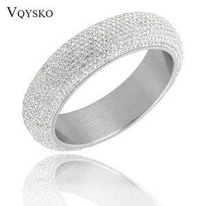 Image 1 - Brazaletes anchos de acero inoxidable para mujer, pulseras de mujer brillantes con cristal austriaco de CZ blanco, nuevos estilos 2019