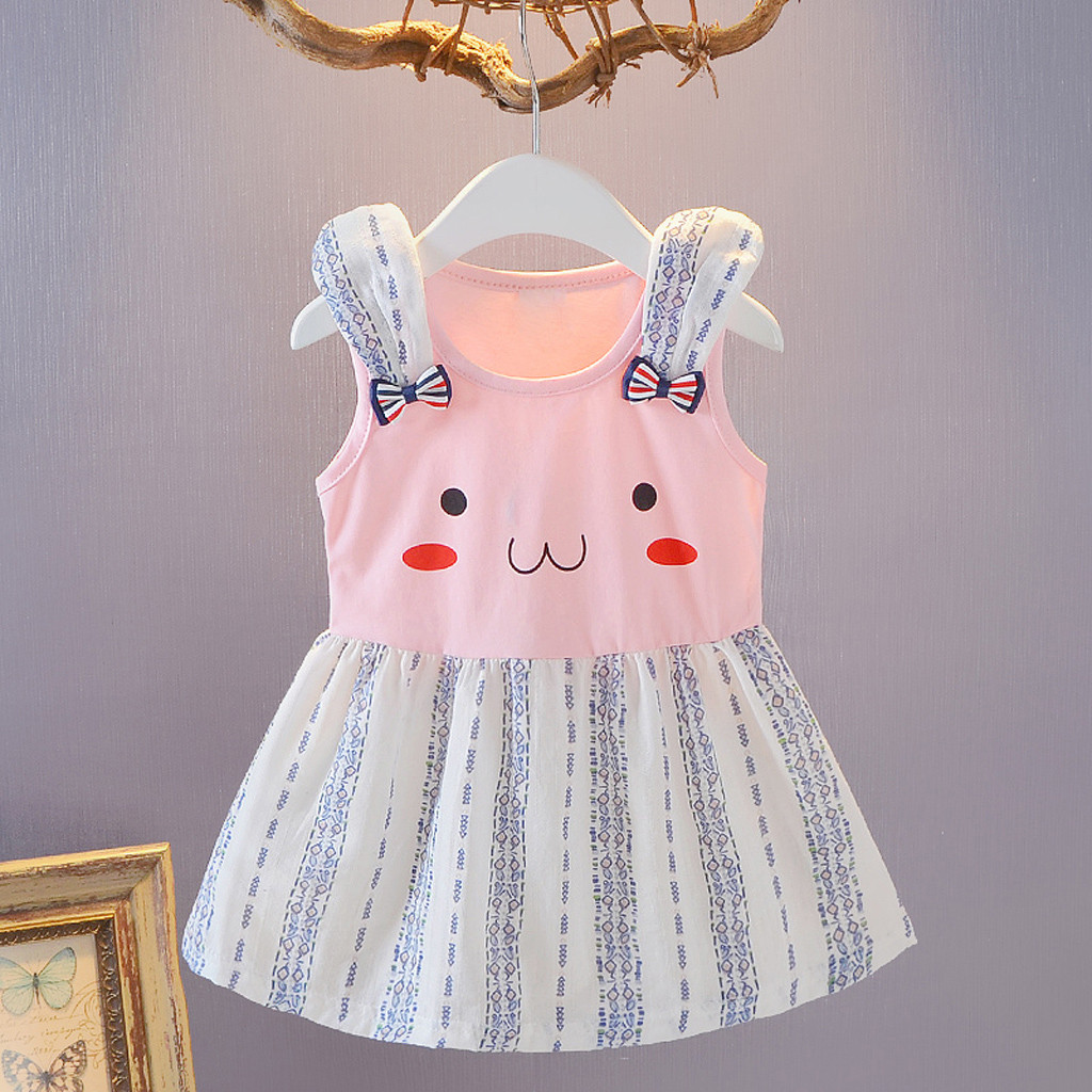 Toddler Kid Baby Girl Summer Dress Cartoon Striped Printed Party Princess Dress