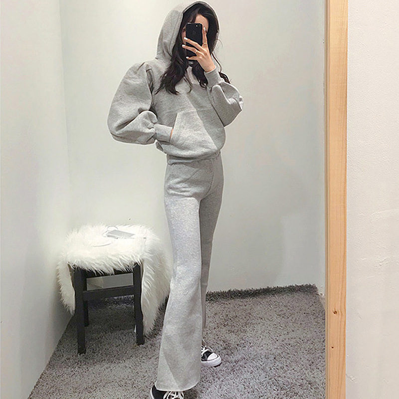 2019 Autumn And Winter New Style Korean-style WOMEN'S Wear Lantern Sleeve Hoodie Trousers Set Women's Casual Hoodie Two-Piece Se