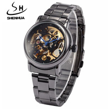 SHENHUA Women Watches Fashion Steampunk Black Automatic Mech