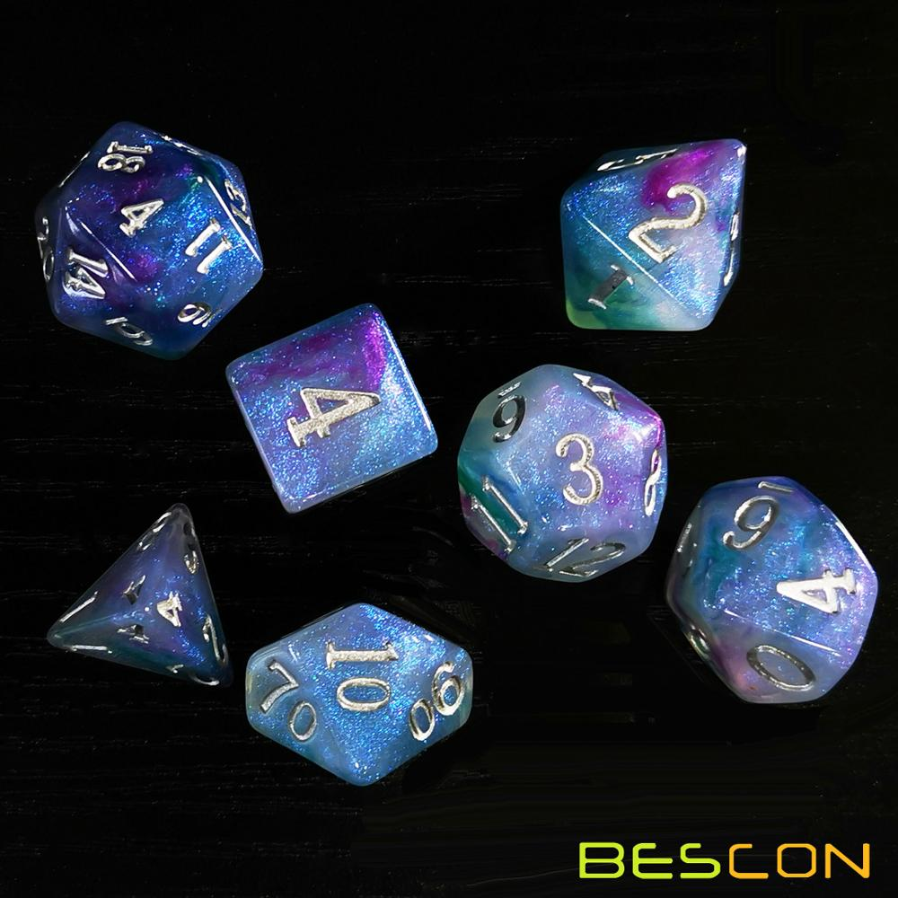 Bescon Magical Stone Dice Set Series, 7pcs Polyhedral RPG Dice Set Fairy Spirit, RoseQuartz, Gold Ore, Dragon Eyes