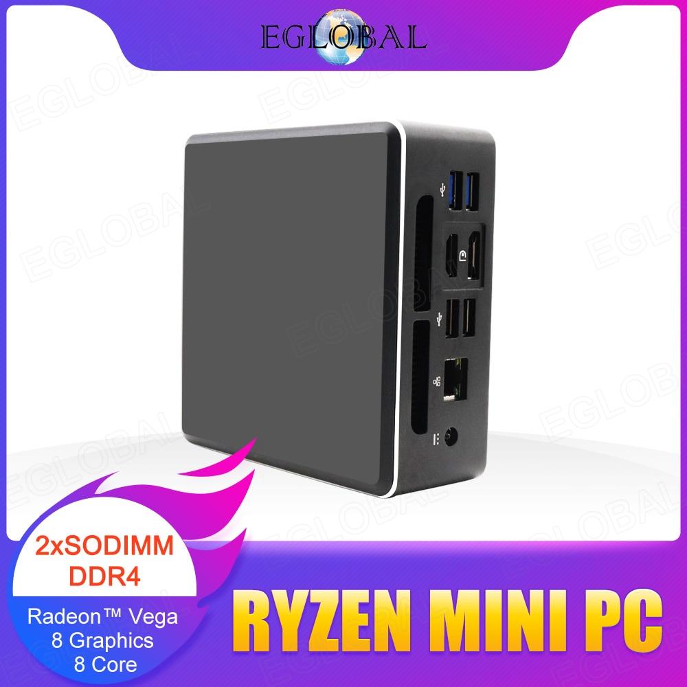 EGLOBAL AMD Ryzen 5 3550H четырехъядерный мини-ПК Vega 8 Graphic 4K UHD DP HD2.0 Type-C Настольный игровой компьютер Nvme SSD AC Wi-Fi BT