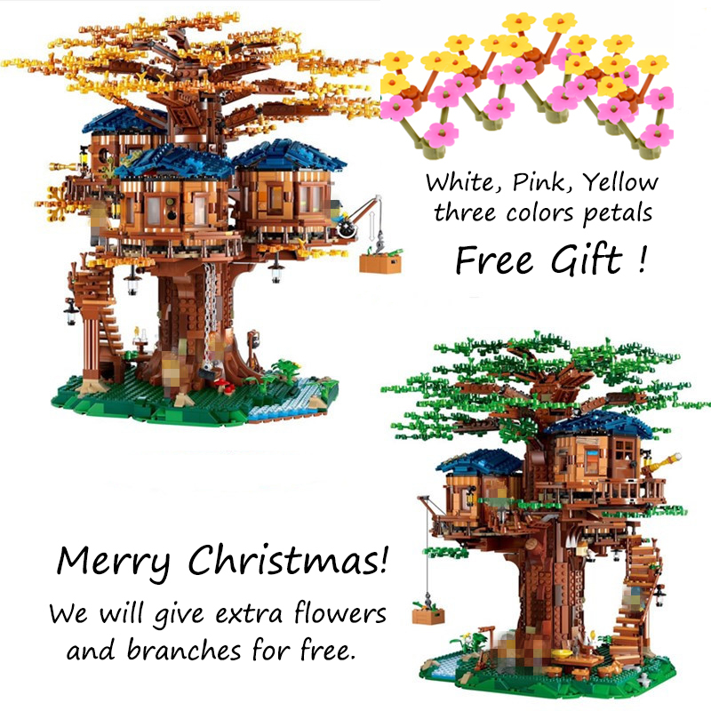 IN STOCK DHL Ideas Tree House Model 3117Pcs Leaves of two colours Building Blocks Bricks Toys Compatible 21318 Chirstmas Gifts