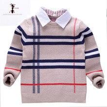 Свитер для мальчиков Kung Fu Ant, повседневный Трикотажный Хлопковый свитер с круглым вырезом и отложным воротником, осень 2019