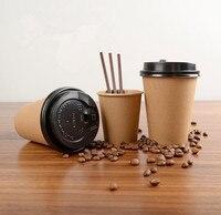 Copo de papel descartável do copo de café do bloco de 100 pces com tampa capa eco amigável copo de chá bebendo acessórios|null| |  -