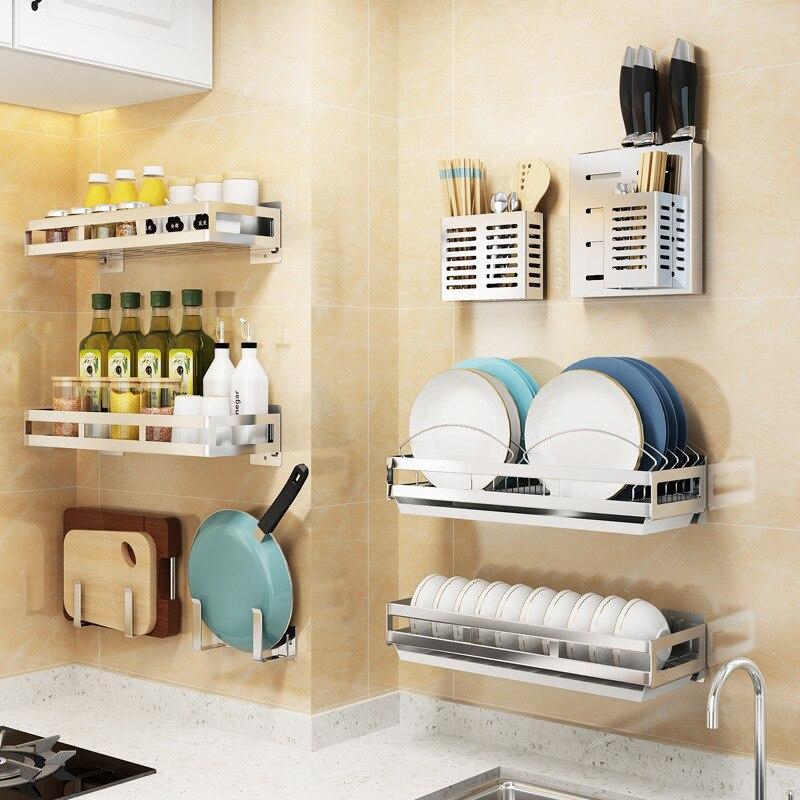 Stainless Steel Dishes And Plates Rack Wall Hanging Punch Free Storage Sink Organizer Kitchen Dish Holder Seasoning Racks Holders Aliexpress