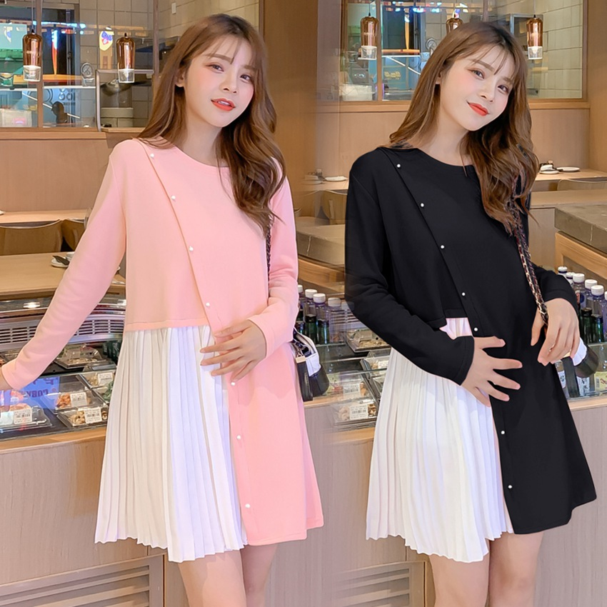 Autumn and winter maternity dress sweet pearl buckle knit stitching dress new Korean fashion loose pregnancy dress