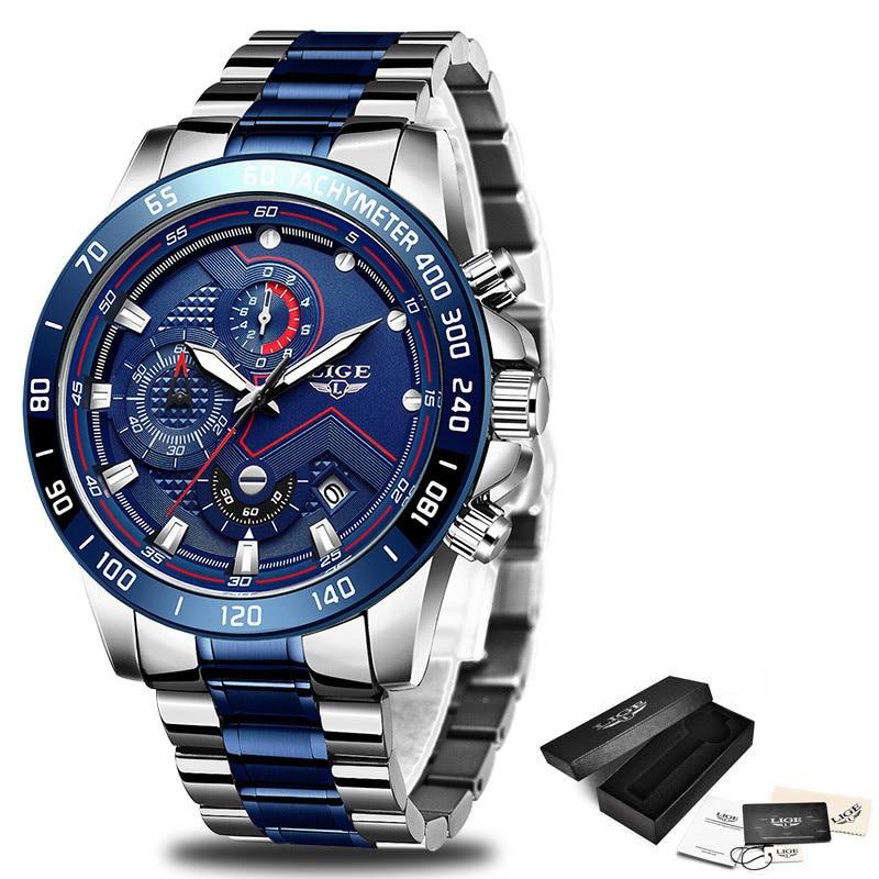 Relogio Masculino LIGE Hot Fashion Mens Watches Top Brand Luxury Wrist Watch Quartz Clock Blue Watch Men Waterproof Chronograph 5