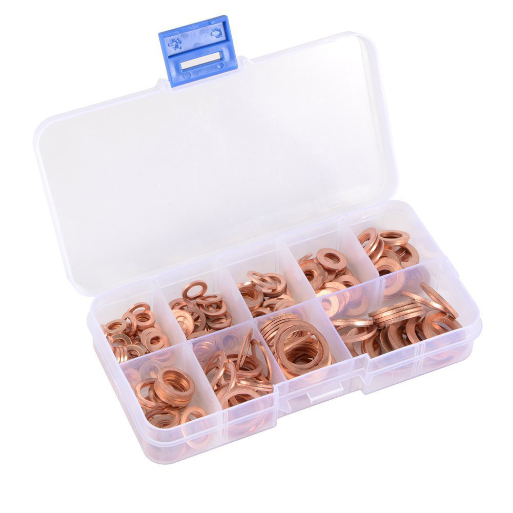 Copper Washer Gasket Nut and Bolt Set Flat Ring Seal Assortment Kit With Box //M8/M10/M12/M14 for Sump Plugs Pakistan