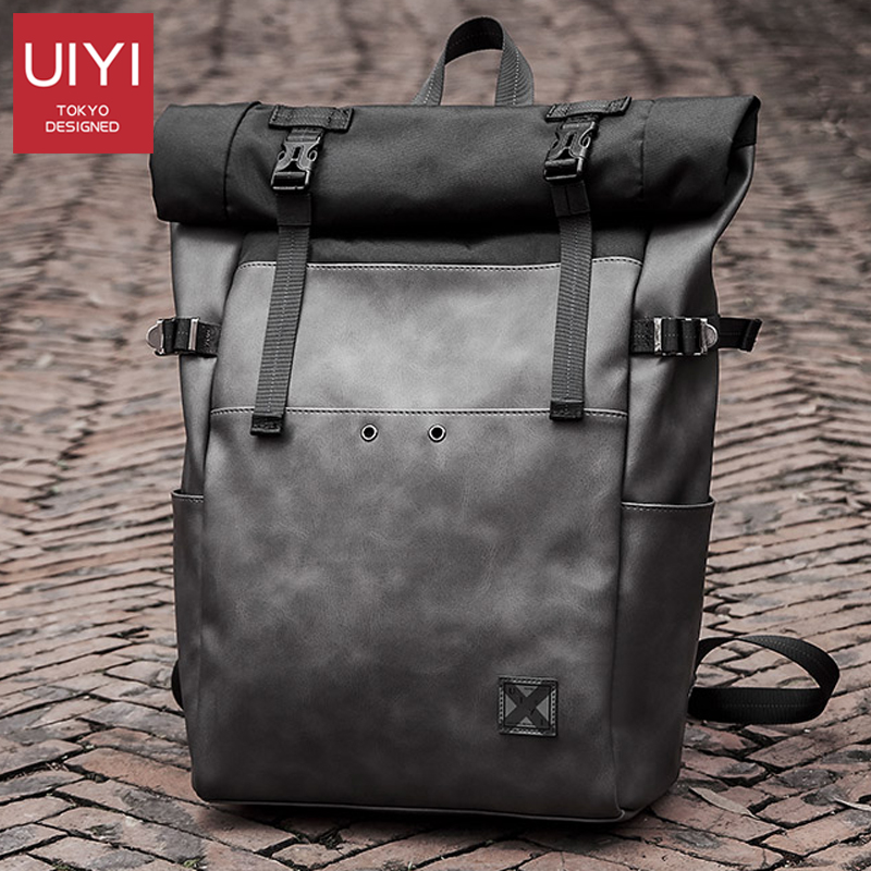 Brand Men Backpack PVC School Backpack Bag Fashion Waterproof Travel Bags Casual Leather Book Bag Male Gray Harajuku Bag Purse