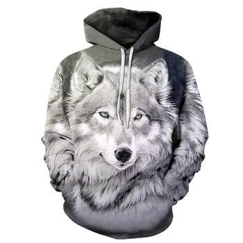 2018 New Wolf Hoodie Men's Hoodie Fall/Winter Hip Hop Hoodie Tops Casual 3D Wolf Head Hoodie Sweatshirt недорого