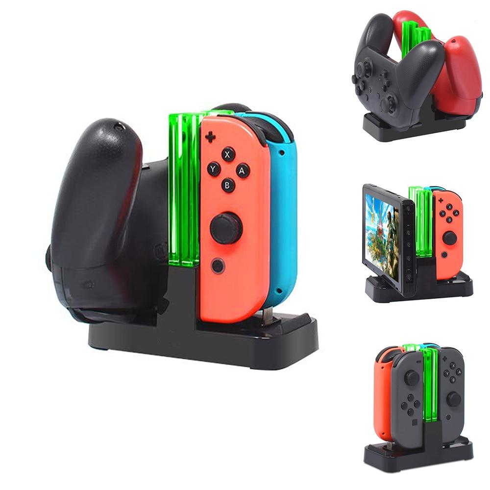 4 в 1 зарядная док-станция для контроллера Nintendo Switch Joy-con, светодиодсветодиодный зарядное устройство для Nintendo Switch Pro, зарядная подставка для ге...