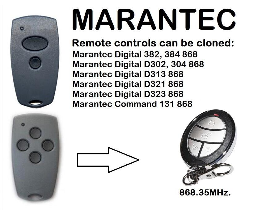FOR Marantec D302-868,D304 -868Mhz Garage Door/Gate Compatible Remote Control Duplicator