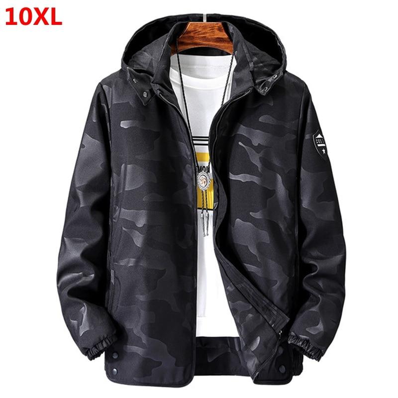 Large Size Windbreaker Men Plus Size Jacket Spring 150kg Loose Camouflage Jacket Bust 155 160 10XL 9XL