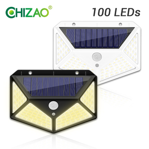 1pc CHIZAO Outdoor Solar Security Light 100 LED 270° Wide Angle Super Bright Motion Sensor Night Light IP65 Waterproof Wall Lamp