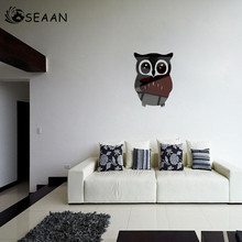 SEEAN Owl Mirror Environmental Protection Removable Wall Decoration Wallpaper Sticker Creative DIY Romantic Room Decor