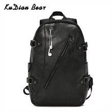 KUDIAN BEAR 남자 배낭 방수 배낭 패션 PU 가죽 여행 가방 캐주얼 학교 가방 틴 에이저 Bookbag BIX301 PM49
