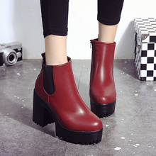 2019 Autumn Winter New Women's Short Ankle Boots Women Thick Heels Womens Boots Waterproof Table Velvet Female Boots Size 35-40 new 2018 autumn winter women real leather martin boots chic pearls chain 9cm 4 5cm thick heels short boots eu35 40 size by510
