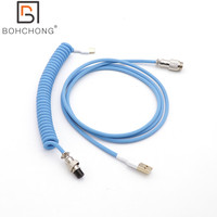 Custom Make Single Sleeved PET Coiled Coiling Type C Mini Micro USB Cable for Mechanical Keyboard Cable With GX16 Aviator