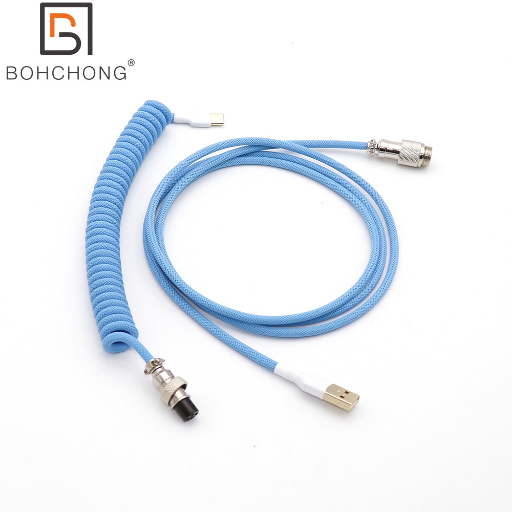 Custom Make Single Sleeved PET Coiled Spring Coiling Type C Mini Micro USB Cable for Mechanical Keyboard Cable With GX16 Aviator
