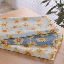 1 метр сельский ветер мягкий хлопок ткань принт подсолнечника одежда аксессуары сумка скатерть материал для рукоделия