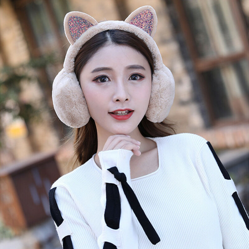 Ladies Girls Winter Plush Ear Pad Glitter Cat Earmuffs Headband Warmer Outdoor