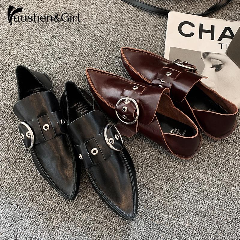 Haoshen & girl 2020 nova primavera apartamentos de couro genuíno oxfords fivela ponto dedo do pé retro casual mulher neutra sapatos planos tamanho 34 40
