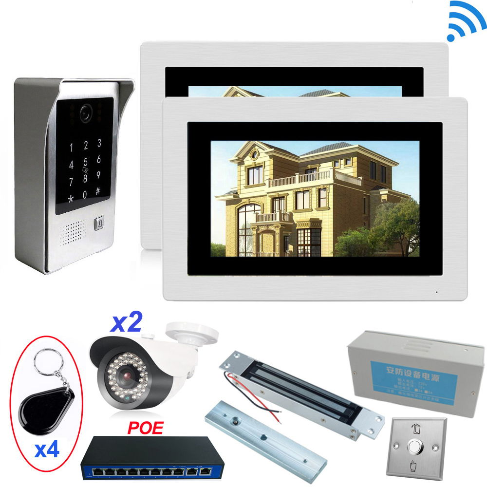 IP Wifi Video Door Phone Intercom Access Control System+Electronic Magnetic Lock+Power Control Box+Open Switch+2x IP Camera +POE