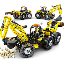 City Engineering Vehicles 3 In 1 Forklift Building Blocks Truck Crane model Bricks kids Toys For boy Children Compatible Technic new 959pcs city explorers cargo train forklift truck crane remote control compatible lepins building blocks bricks toys for gift