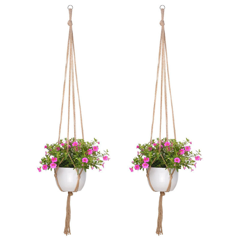 Modern Pot Macrame Plant Hanger Basket Flowerpot Plant Holder Macrame Hanging Knotted Lifting Rope Garden Home Decor 105cm Hot