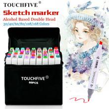 TouchFIVE 30 40 60 80 markery kolorów Manga markery do rysowania długopis na bazie alkoholu szkic filcowy tłusty podwójny pędzelek do zdobień Art Supplies tanie tanio Pojedyncze (AE存量)* 7 Art marker Zestaw TOUCHFIVE Art Markers Pens Alcohol Markers Art Supplies Markers Manga Drawing Pen