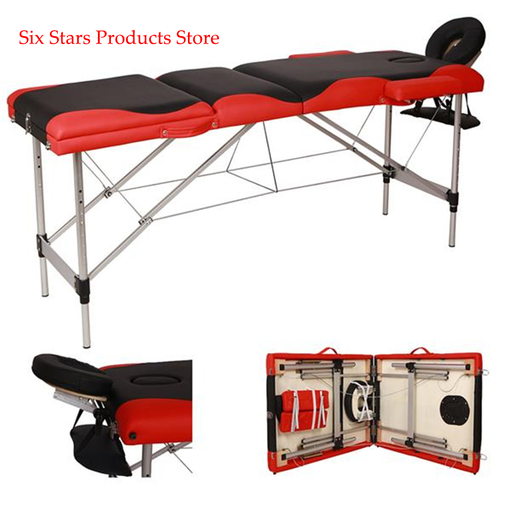 185cm*60cm*81cm Beauty Bed Spa Tattoo Body 3 Sections Folding Aluminum Tube SPA Bodybuilding Massage Table Black With Red Edge