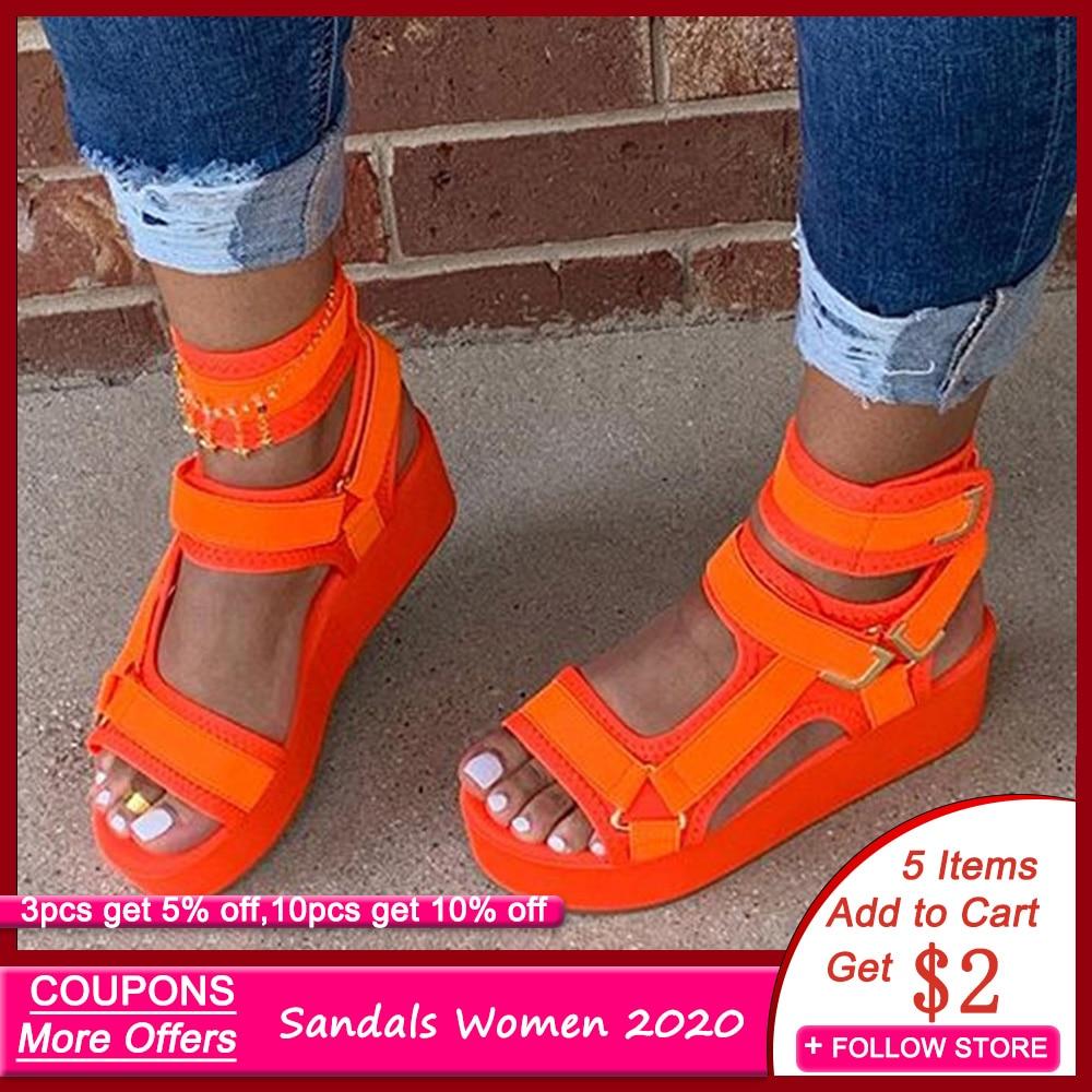 Women Sandals Hook \u0026 Loop Platform Open