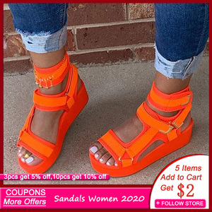 Women Sandals Hook & Loop Platform Open Toe Orange Sandals Women Flat Summer 2020 Outdoor Beach Shoes Women Sandals for Girils(China)