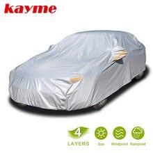 Kayme multi camada completa capa de carro à prova dall água todo o tempo com zíper algodão, chuva ao ar livre neve sol proteção uv caber sedan suv