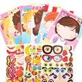Дети DIY Сделай лицо стикер книги для детей, начинающих ходить, новые головоломки Забавные игрушки подарок мультфильм животных платье принце...