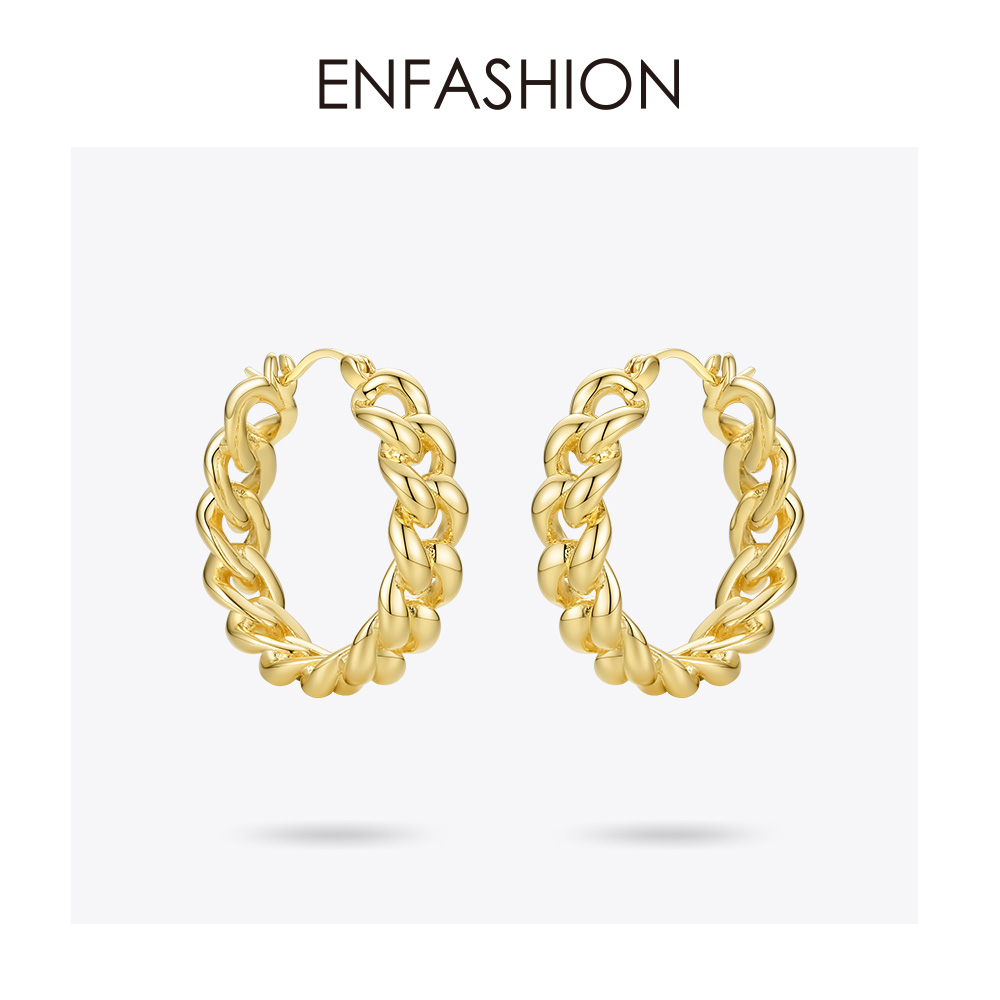 ENFASHION Punk Small Link Chain Hoop Earrings For Women Gold Color Round Hoops Earings Fashion Jewelry Pendientes Mujer E191088Hoop Earrings   -