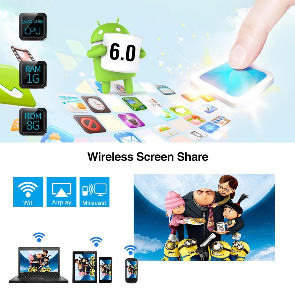 Wifi projetor portátil bluetooth led sem fio inteligente android 3200 lumen casa ao ar livre filme jogos com hdmi usb vga av sd - 3