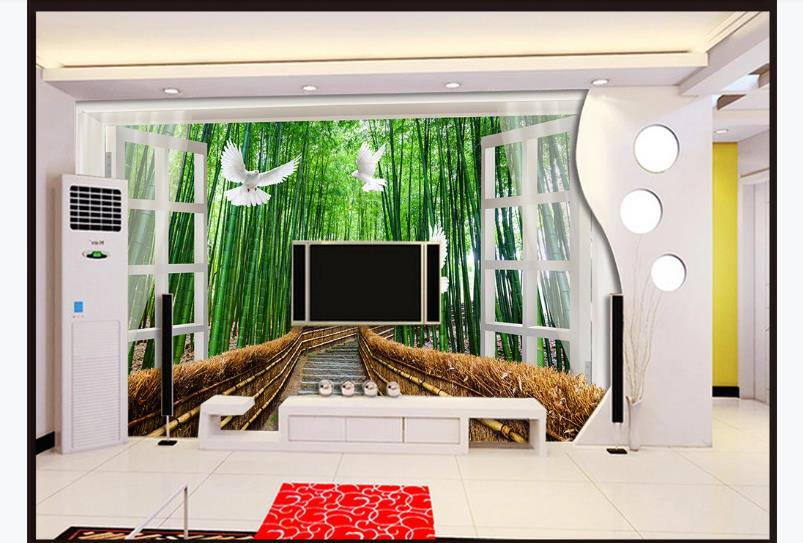 3D Wallpaper Bedroom Window Decor Wallpaper Mural For Living Room Bedroom Bamboo Wall Mural For KTV Hotel Cafe Home Decor