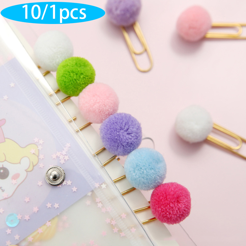 10/1pcs Cute Hairball Rose Gold Cilp Modelling Paper Clip Fashion Business Office Lady Style Office Stationery Set
