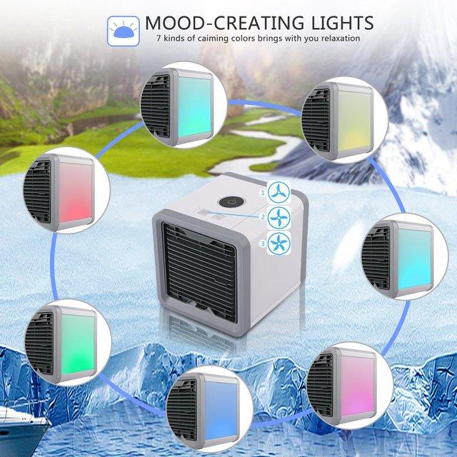 Condizionatore D'aria Portatile USB 7 Colori Luce Umidificatore Purificatore 5