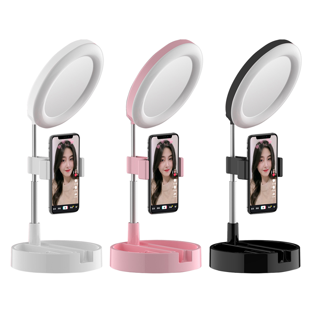 Universal Selfie Ring Light with Flexible Mobile Phone Holder Lazy Bracket Desk Lamp LED Light for Live Stream Office Kitchen