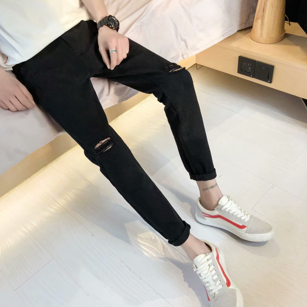 2020 Spring And Autumn New Style Fashion Man Korean-style Trend Slim Fit Skinny Pants Teenager Fashion With Holes Capri Jeans