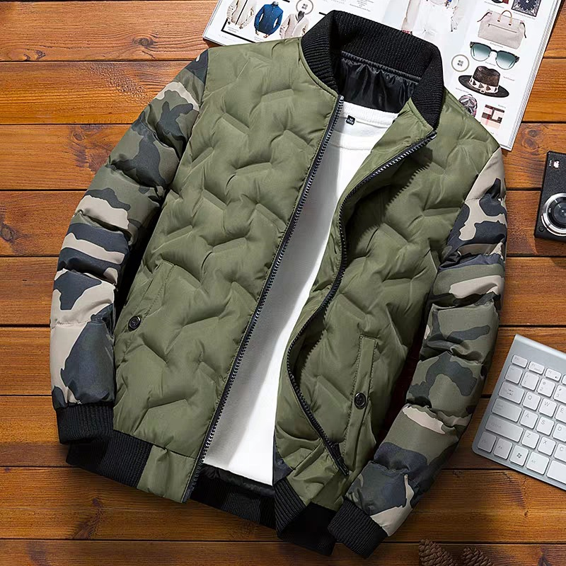 Winter Men Bomber Jacket Print Zipper Men's Overcoat Camouflage Patchwork Keep Warm Thick Jackets Coats Mens Windbreaker Parkas