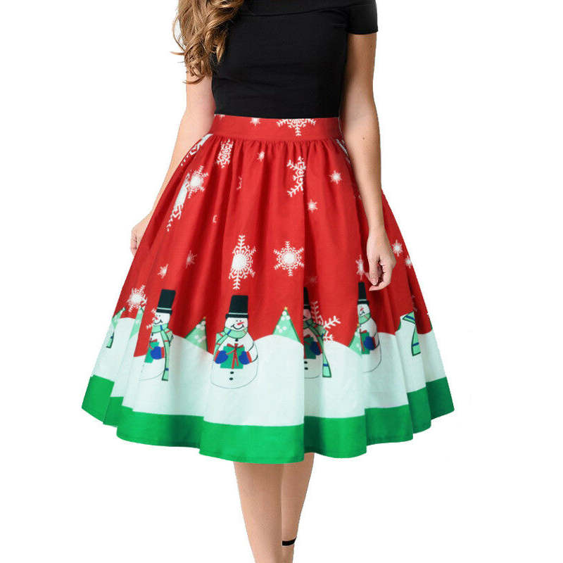 Fashion Women Christmas Snowmen Reindeer Printed Red Pleated Skirt