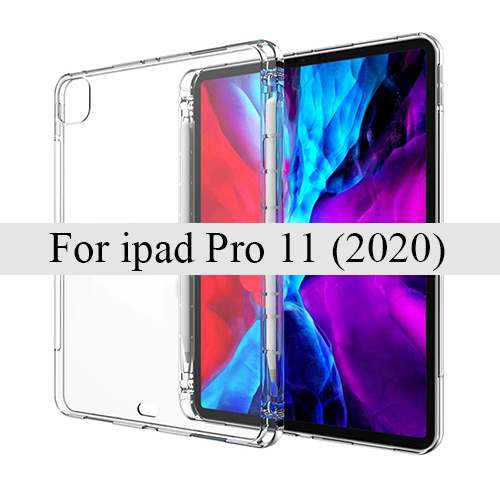 for pro 11 2020 Green Tablet case for Apple ipad Pro 11 2020 Pen tray soft shell TPU cover Transparent protection