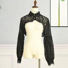 Detachable Lace Ruffles Collars Fashion Shirt Fake Collar For Women White/Black Lapel Flower Neckline Retro Hollow Shawl Scarf
