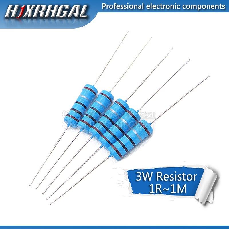 5pcs 3W Metal Film Resistor 1% 1R ~ 1M 1R 4.7R 10R 22R 33R 47R 1K 4.7K 10K 100K 1 4.7 10 22 33 47 4K7 Ohm